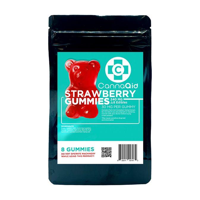 CannaAid D8 Gummy Bears Strawberry 30mg per 8ct